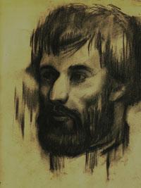 Ермакович А. Портрет Игоря Полеводы. Старочеркасская, 1982 г. Бумага, уголь