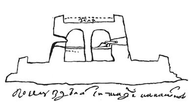 Чертеж цитадели в разрезе. 1706 г.