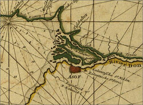 Азов на карте Крюйса