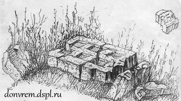 Зарисовка разбитого во время войны надгробия Х. И. Попова